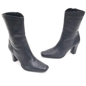 Style & Co Heeled Leather Zip Up Booties Size 5.5
